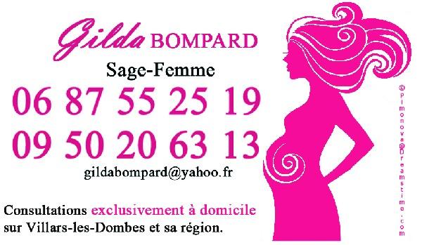 Carte de visite de Gilda BOMPARD, Sage-femme (recto)